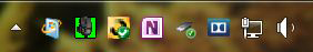 The Windows 7 Taskbar Notifications area very similar to the Windows 8, 8.1, and 10 versions.