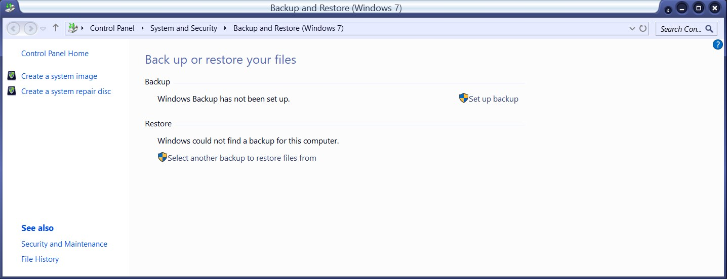 Windows 10 backup and restore options.