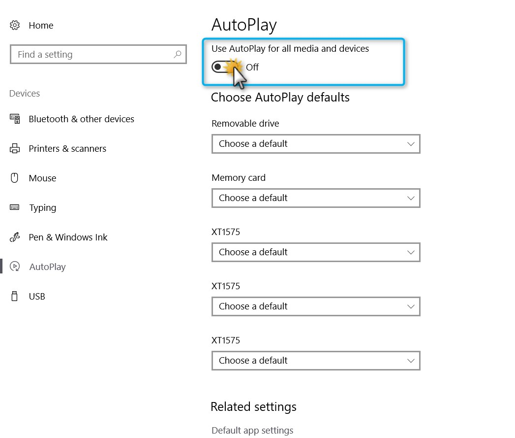 Click on AutPlay to get to AutoPlay settings.